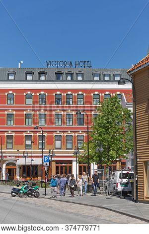 Stavanger, Norway - June 01, 2017: Hotel Victoria And Architecture In The City Of Stavanger In Norwa