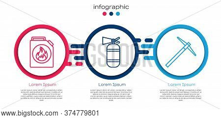 Set Line Canister For Flammable Liquids, Fire Extinguisher And Pickaxe. Business Infographic Templat