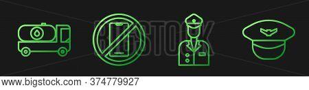 Set Line Pilot, Fuel Tanker Truck, No Cell Phone And Pilot Hat. Gradient Color Icons. Vector