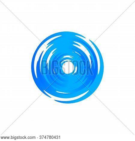 Blue Round Swirl Logo. Hurricane And Typhoon Whirlpool, Vortex, Maelstrom Circular Logotype. Fresh D