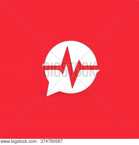 Cardiogram Logo. Medical Heart Rate Monitor Emblem. Cardiology Info Bubble Icon. Pulse Oximeter Noti