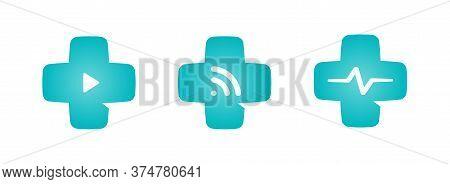 Medical Cross Logo Set. Telemedicine Icon Collection. Modern Online Healthcare System Emblem. Distan