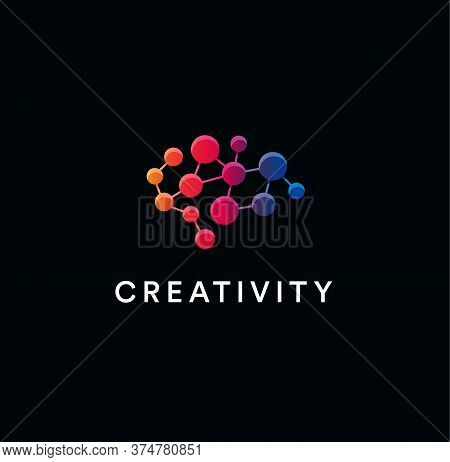Creative Brain Logo. Creativity And Creative Thinking Symbol. Neural Network Emblem. Cerebral Neuron