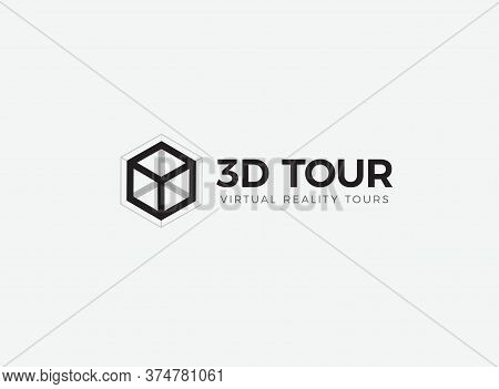 3d Room, House, Flat, Apartment Tour Logo. Vr Vision Attraction Emblem. Virtual Reality Journey, Lan