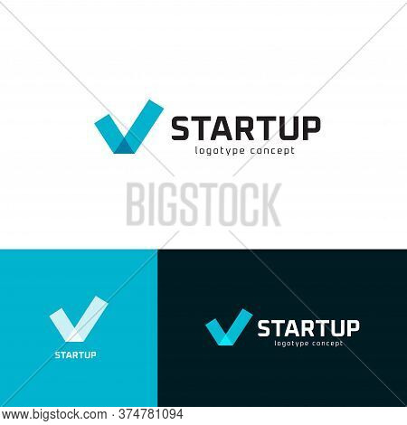 Successful Startup Business Investment Logo Set. Check Mark Emblem Collection. Tick Icon. Company Su