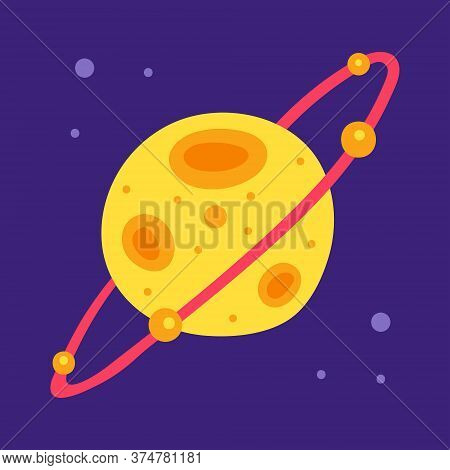 Yellow Planet. Saturn. Space Vector Flat Illustration, Element, Sticker, Icon, Shape. Isolated On Da