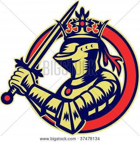 Knight Full Armor With Sword Retro