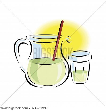 Refreshing Lemonade Illustration. Glass With Straw And Pitcher With Lemons And Ice Cubes. Retro Styl