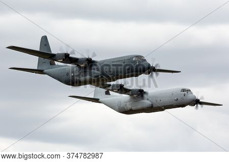 Avalon, Australia - February 28, 2015: Two Royal Australian Air Force Lockheed Martin C-130j Hercule