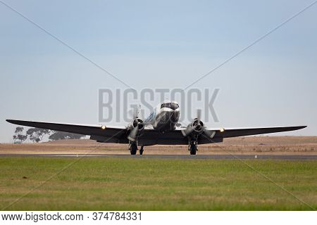 Avalon, Australia - February 28, 2015: Vintage Douglas Dc-3 Airliner Vh-ovm Operated By Air Nostalgi