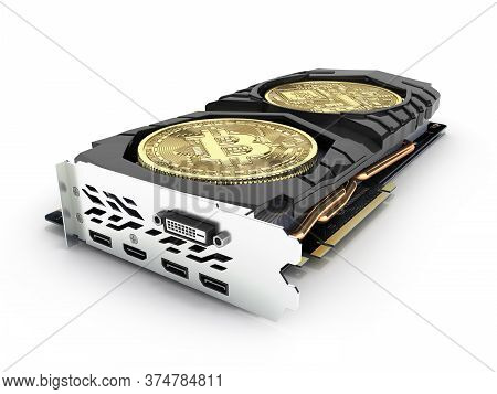 Bitcoin Mining Powerful Video Card To Mine And Earn Cryptocurrencies Concept Isolated On White Backg