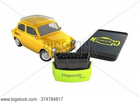 Car Diagnostic Concept Close Up Of Obd2 Wireless Scanner With Smartphone And Retro Car On White Back