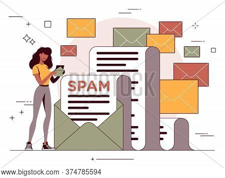 Vector Illustration Of An Unsolicited Message, Email Spam