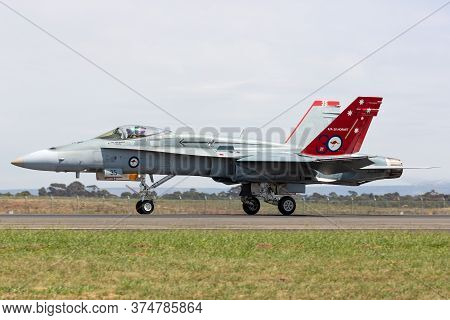 Avalon, Australia - February 25, 2015: Royal Australian Air Force (raaf) Mcdonnell Douglas F/a-18a H