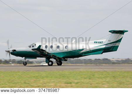 Avalon, Australia - February 25, 2015: Pilatus Pc-12 Single-engine Turboprop Passenger And Cargo Air