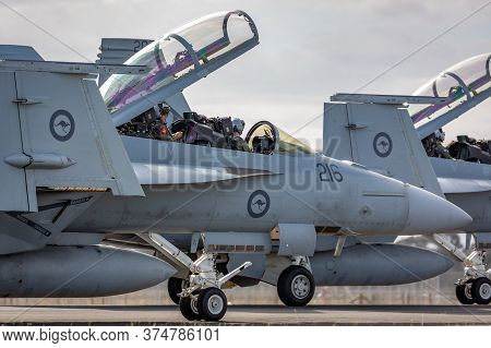 Avalon, Australia - February 24, 2015: Royal Australian Air Force (raaf) Pilot And Weapons System Of