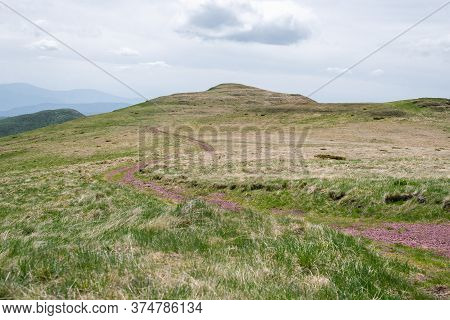 Lonely Road On Mountain Nature Landscape. Meadow On Mountain With Red Rocky Road. Hiking In Mountain