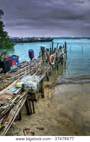 wooden jetty at Pulau Ubin