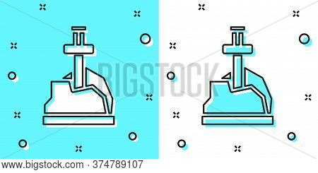 Black Line Sword In The Stone Icon Isolated On Green And White Background. Excalibur The Sword In Th