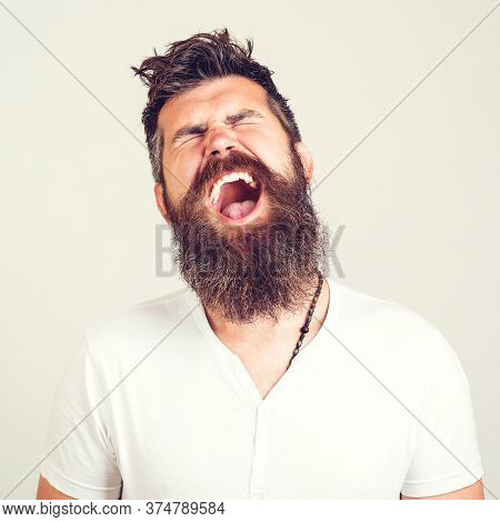 Portrait Of Angry Screaming Man. Screaming Bearded Brutal. Feeling Angry. Stressed Furious Bearded M