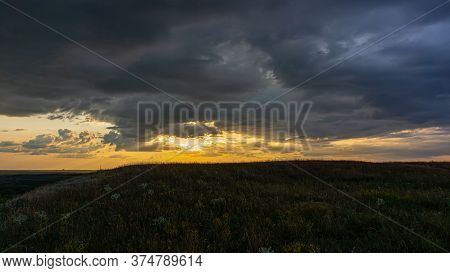 Evening Sky And Rain Clouds, Countryside Landscape. Summer Season, August.