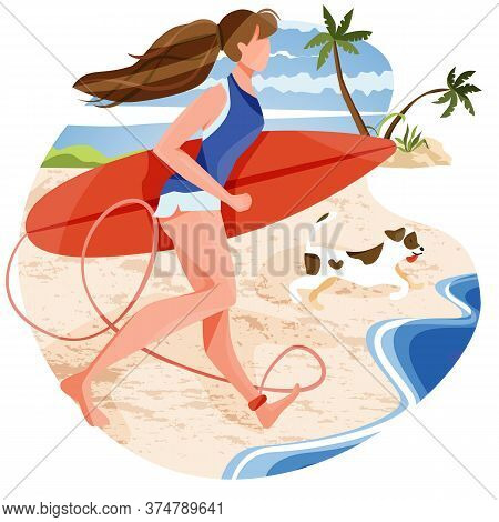 Illustration Of Woman Running By Holding Surfboard With Her Dog To Waves. Excited For Outdoor Activi