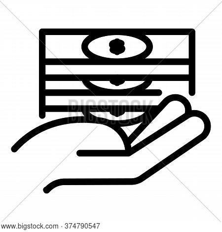 Take Cash Broker Icon. Outline Take Cash Broker Vector Icon For Web Design Isolated On White Backgro
