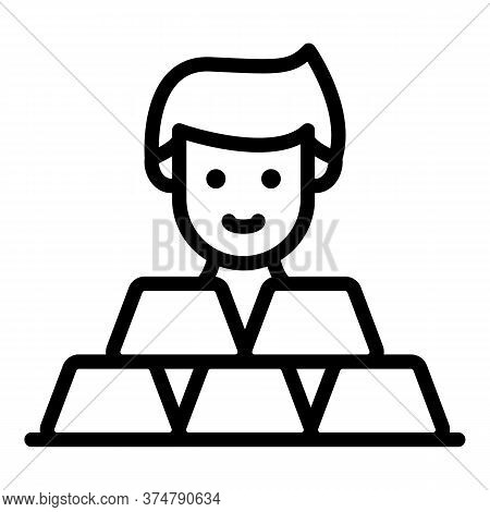 Broker Take Gold Bars Icon. Outline Broker Take Gold Bars Vector Icon For Web Design Isolated On Whi