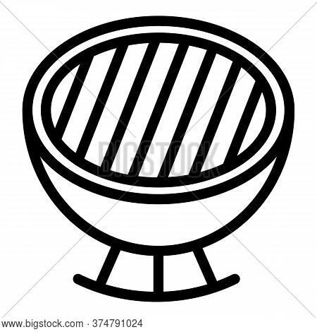 Charcoal Grill Icon. Outline Charcoal Grill Vector Icon For Web Design Isolated On White Background