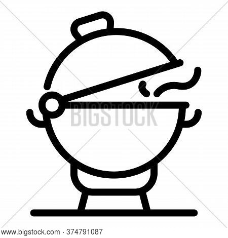 Picnic Brazier Icon. Outline Picnic Brazier Vector Icon For Web Design Isolated On White Background