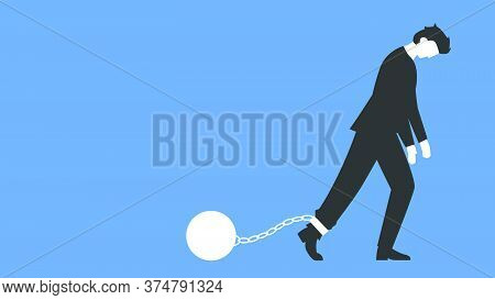 Vector Illustration Of Depressed Businessman In A Suit Walking With A Heavy Load Attached By Chain T