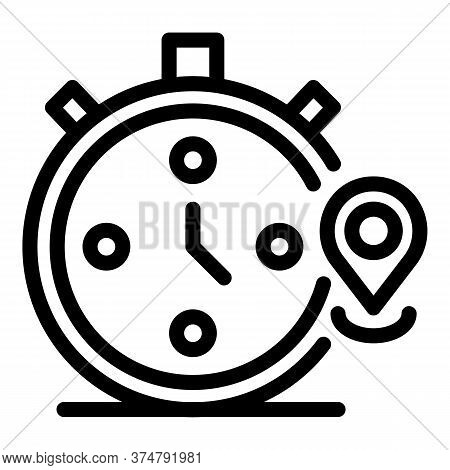 Timer Stopwatch Icon. Outline Timer Stopwatch Vector Icon For Web Design Isolated On White Backgroun