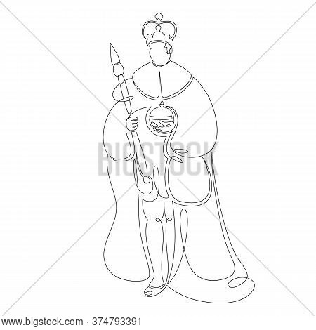 One Continuous Drawing Line Medieval Historical European Monarch King .single Hand Drawn Art Line Do