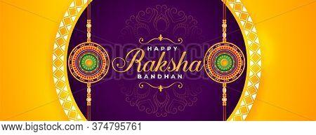 Beautiful Happy Raksha Bandhan Traditional Festival Banner