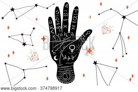 Palmistry And Hieromancy. Hand Lines And Their Meanings. Moon Phases. Crystals In Variety Of Shapes.