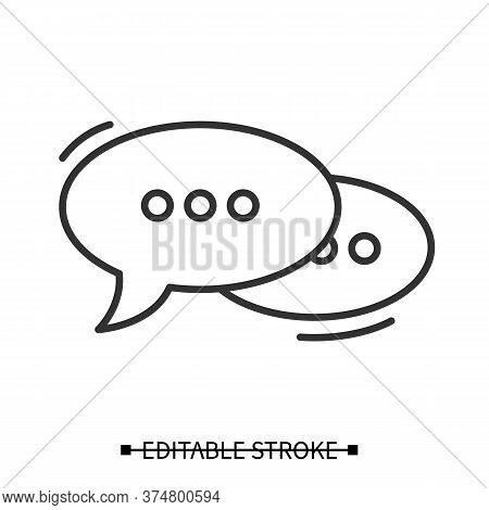 Dialogue Icon. Ellipse Line Pictogram With Omission Points. Message And Communication Concept. Simpl