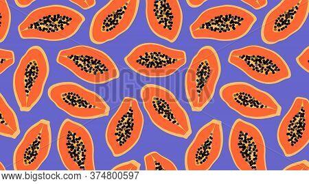 Orange Papaya Pattern On Purple Background. Exotic Summer Fruit Seamless Design For Web And Print. T