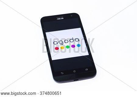 Kouvola, Finland - 23 January 2020: Agoda App Logo On The Screen Of Smartphone Asus