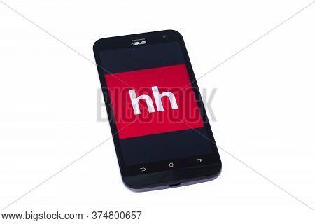 Kouvola, Finland - 23 January 2020: Head Hunter App Logo On The Screen Of Smartphone Asus