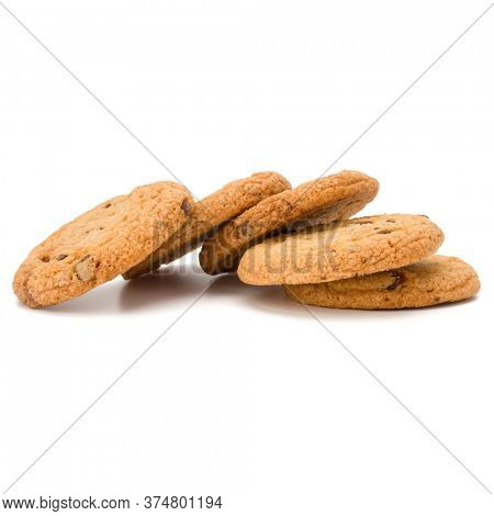 Chocolate chip cookies isolated over white background. Sweet biscuits. Homemade pastry.