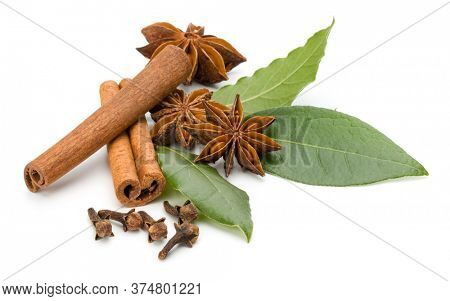 Various spices isolated over white background. Bay leaves, cinnamon and anise stars.