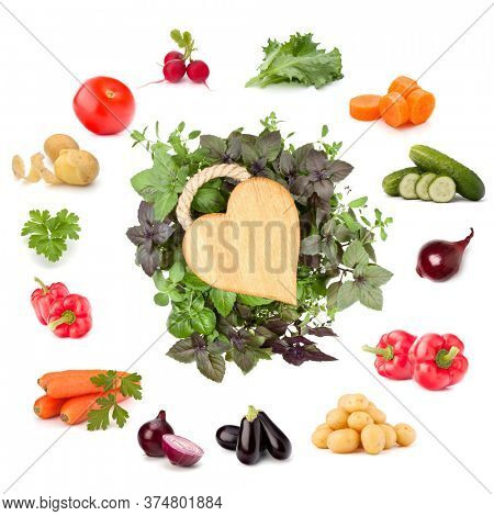 Vegetables collection isolated on white background with copy space. Set of different fresh raw veggies. Food ingredient. Healthy food concept.