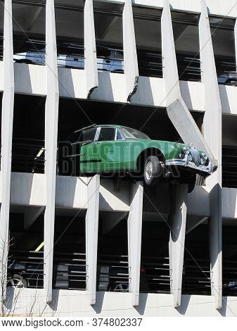 Bordeaux , Aquitaine / France - 10 02 2019 : Victor Hugo Car Park In Bordeaux With Jaguar Car Accide