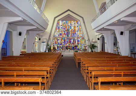 Bordeaux , Aquitaine / France - 03 03 2020 : Cap Ferret Interior Modern Church In Lege France