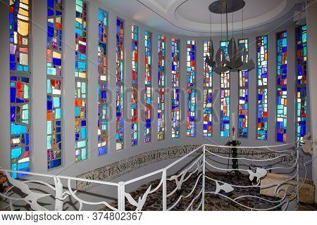 Bordeaux , Aquitaine / France - 03 03 2020 : Lege Cap Ferret Church Interior Stained Glass Window