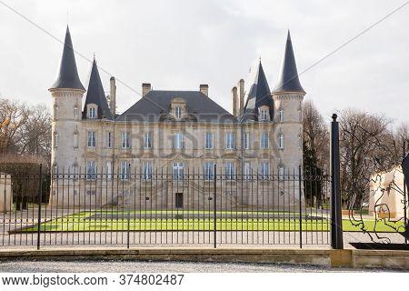 Pauillac, Bordeaux France - December 12 2018 -  Historic Chateau Pichon Longueville Baron Situated I