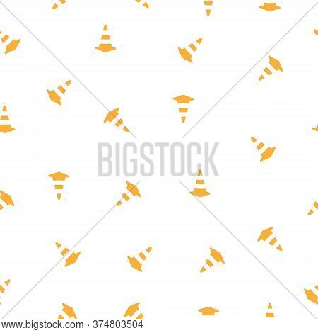 Traffic Cone Seamless Pattern Background. Orange Road Pylon Icon Vector Illustration.