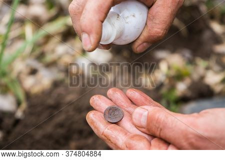 Archaeologist Digger Found An Old Ancient Valuable Coin And Washes It.