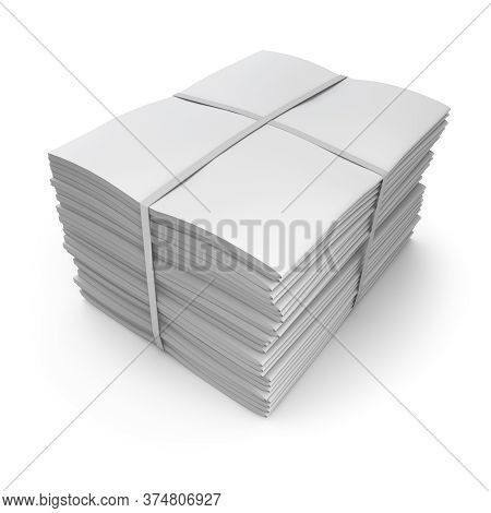 Clay Render Of Pile Of Newspapers On White Background - 3d Illustration