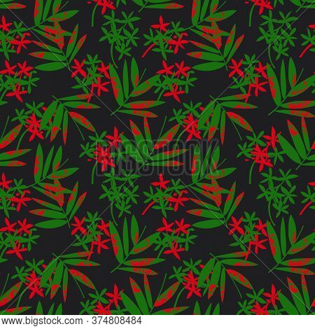 Christmas Tropical Botanical Leaf Seamless Pattern Background